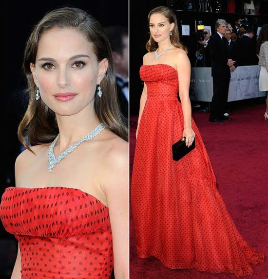natalie portman 2012 polka dotted dress