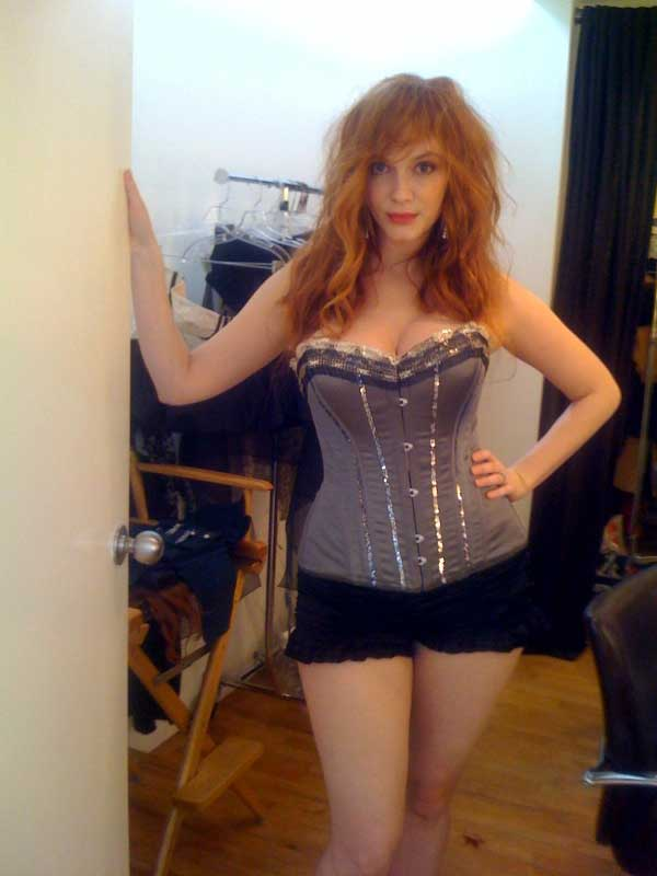 christina hendricks wearing corset