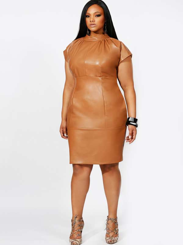 Plus Size women in brown leather dress