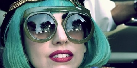 lady gaga, wearing green sunglasses
